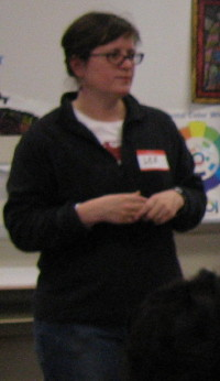 Lee Moore presents to students